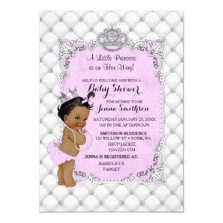 Attractive Pearls Diamonds Ethnic Princess Baby Girl Lavender Card