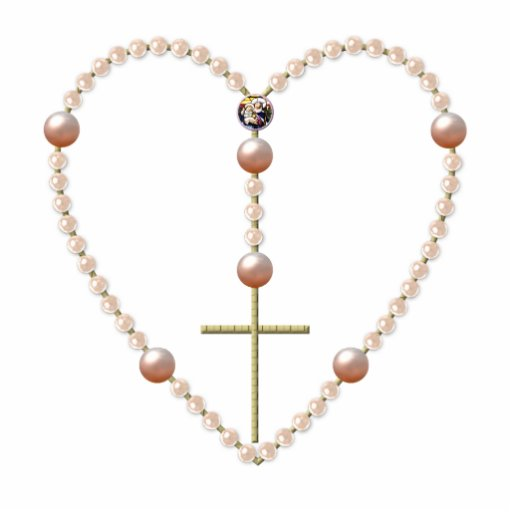 Pearls Heart Shaped Rosary Cut Out Zazzle