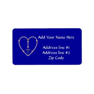 """Pearls"" heart shaped Rosary Custom Address Labels"