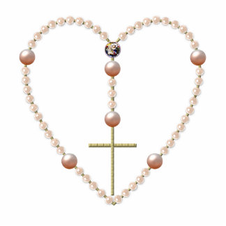 """Pearls"" heart shaped Rosary Standing Photo Sculpture"