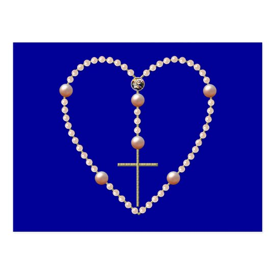 """Pearls"" heart shaped Rosary Postcard"