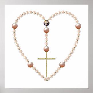 """Pearls"" heart shaped Rosary Print"