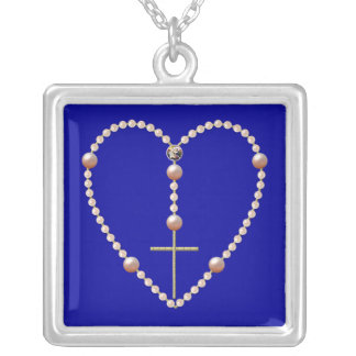 """Pearls"" heart shaped Rosary Square Pendant Necklace"