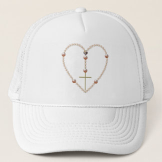 """Pearls"" heart shaped Rosary Trucker Hat"