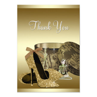 Pearls High Heel Shoes Black Gold Thank You Card Custom Invitation