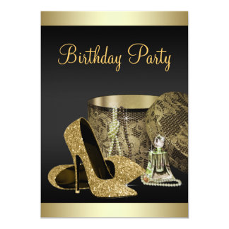Pearls High Heel Shoes Black Gold Womans Birthday 5x7 Paper Invitation Card