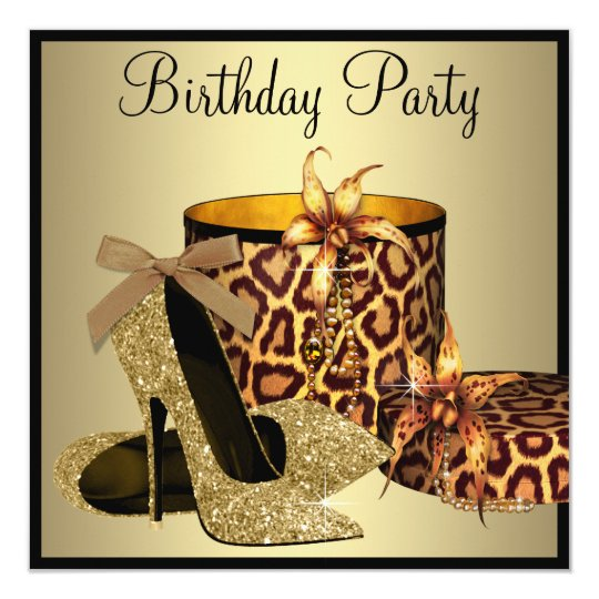 Pearls High Heel Shoes Black Gold Womans Birthday Card