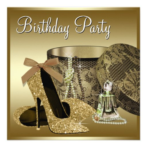 Pearls High Heel Shoes Black Gold Womans Birthday Custom Invite