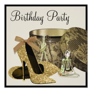 Pearls High Heel Shoes Black Gold Womans Birthday 5.25x5.25 Square Paper Invitation Card