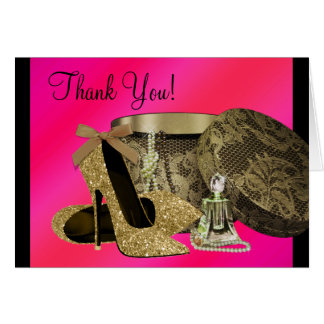 Pearls High Heel Shoes Hot Pink Stationery Note Card