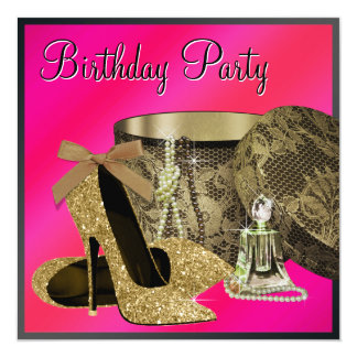 Pearls High Heel Shoes Hot Pink Womans Birthday Card