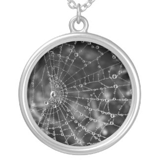 pearls in sterling ~ spider web & dew necklace