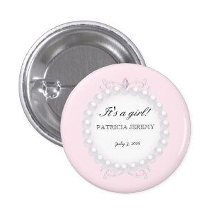 Pearls It's a girl! Baby Girl Birth Announcement Pinback Button