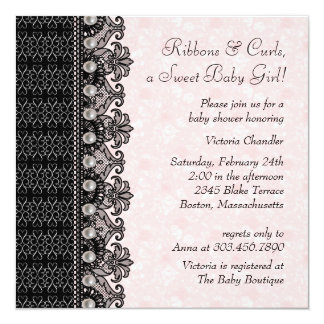 Pearls Lace Pink Black Baby Girl Shower 5.25x5.25 Square Paper Invitation Card