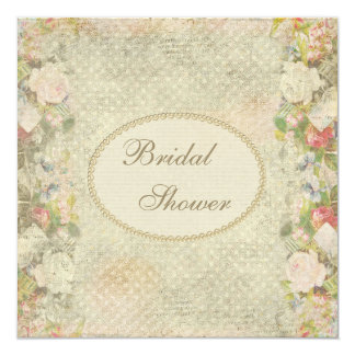 Pearls & Lace Shabby Chic Flowers Bridal Shower Card