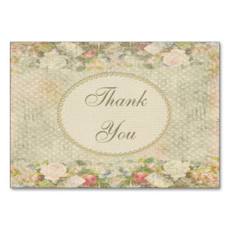 Pearls & Lace Shabby Chic Flowers Thank You Card