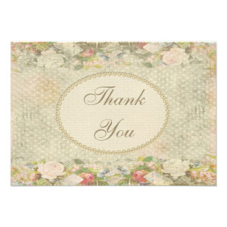 Pearls Lace Shabby Chic Flowers Thank You Custom Invitations