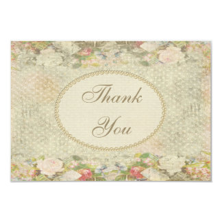 "Pearls & Lace Shabby Chic Flowers Thank You 3.5"" X 5"" Invitation Card"