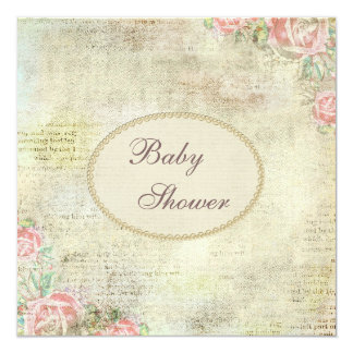 Pearls & Lace Shabby Chic Roses Baby Shower Card