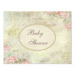 Pearls & Lace Shabby Chic Roses Baby Shower Personalized Announcements