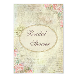 Pearls & Lace Shabby Chic Roses Bridal Shower Card