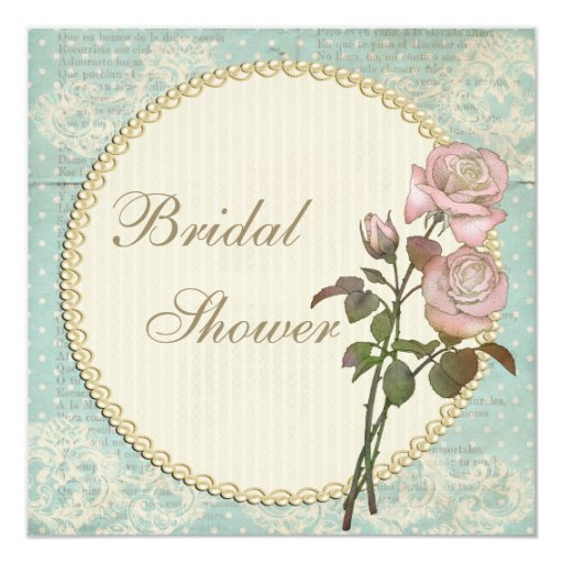 Pearls & Lace Shabby Chic Roses Bridal Shower Invite