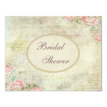 Pearls & Lace Shabby Chic Roses Bridal Shower Custom Invitations