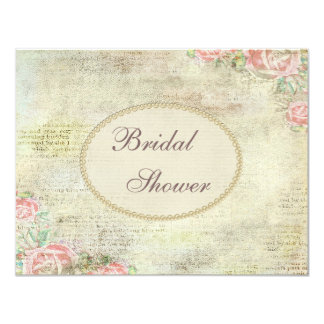 Pearls & Lace Shabby Chic Roses Bridal Shower 4.25x5.5 Paper Invitation Card