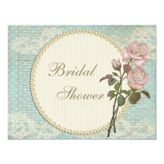 Pearls & Lace Shabby Chic Roses Bridal Shower Personalized Invitations
