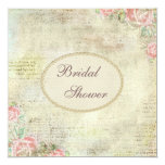"""Pearls & Lace Shabby Chic Roses Bridal Shower 5.25"""" Square Invitation Card"""