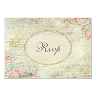 Pearls & Lace Shabby Chic Roses RSVP Card