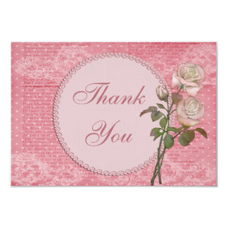 Pearls & Lace Shabby Chic Roses Thank You Card