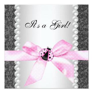 Pearls Ladybug Pink Black Baby Girl Shower Card