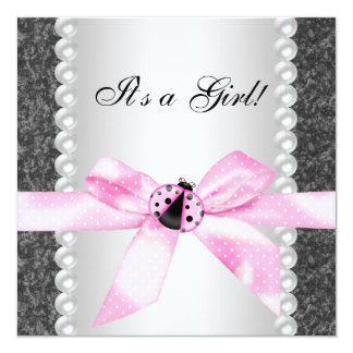 Pearls Ladybug Pink Black Baby Girl Shower Announcement