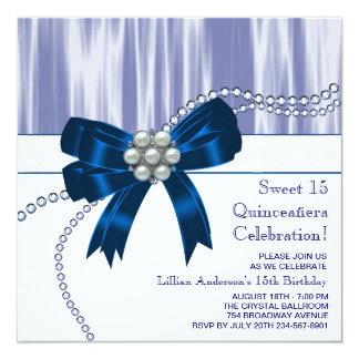 Pearls Navy Blue Quinceanera Invitation