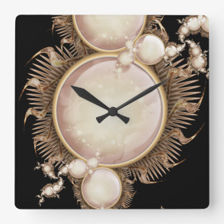 Pearls on Black Square Wall Clock