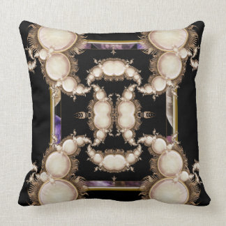 Pearls on Black Throw Pillow