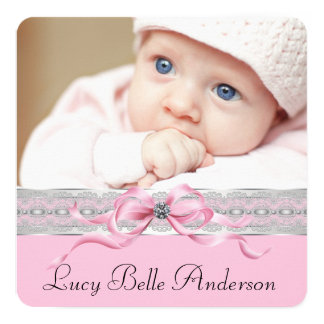 Pearls Pink Baby Girl Birth Announcements