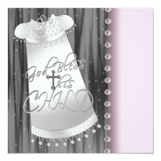 Pearls Pink Black Baby Girl Christening Invitation