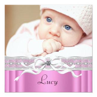 Pearls Pink Black Baby Girl Photo Birth Card