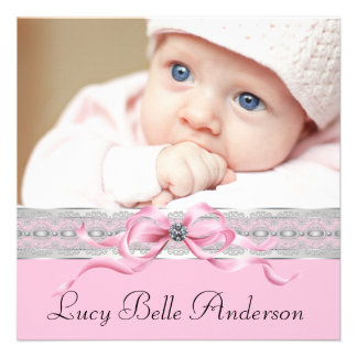 Pearls Pink Black Baby Girl Photo Birth Personalized Invitation