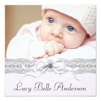 Pearls Pink Black Baby Girl Photo Birth 5.25x5.25 Square Paper Invitation Card