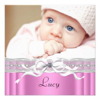 Pearls Pink Black Baby Girl Photo Birth Custom Invitation