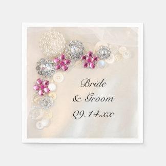 Pearls Pink Diamond Buttons Wedding Paper Napkin