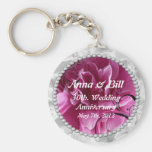 Pearls & Pink Floral Swirls save the date Key chai Basic Round Button Keychain