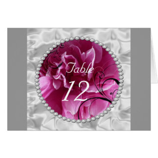Pearls & Pink Floral Swirls table number card