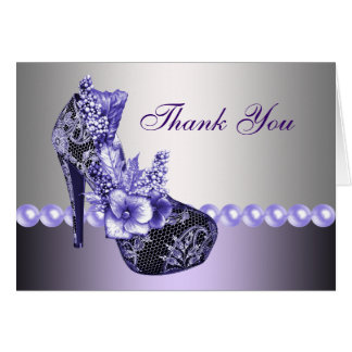 Pearls Purple High Heel Shoes Thank You Cards