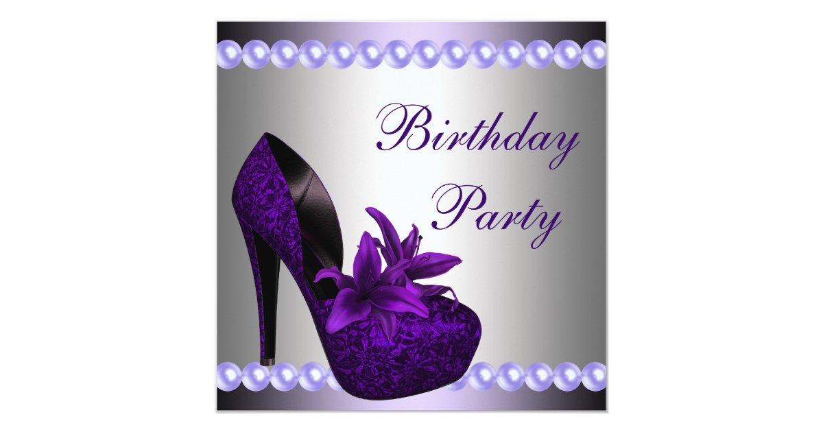 Pearls Purple High Heels Shoes Birthday Party Invitation