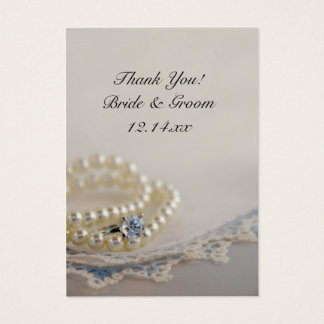 Pearls, Ring and Blue Lace Wedding Favor Tags