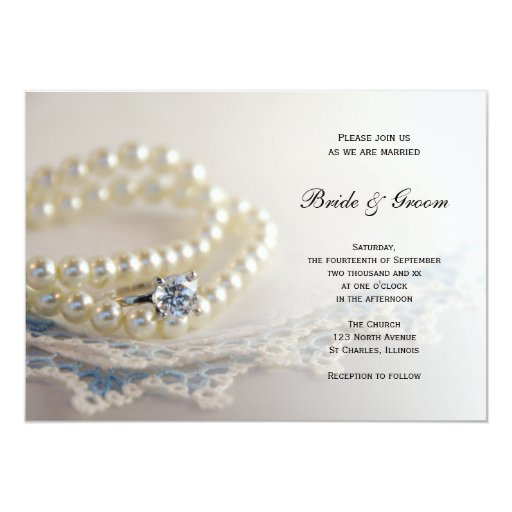 Pearls ring and blue lace wedding invitation 5 x 7 for Pearl wedding invitations